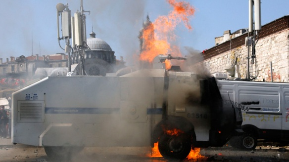 Police vehicle on fire in Istanbul's Taksim square